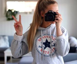 girl, converse, and camera image