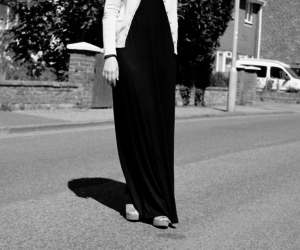 black, maxi dress, and street style image