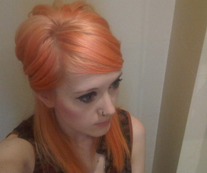 girly, piercing, and peach hair image