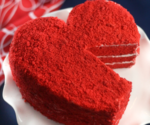 cake, heart, and red image