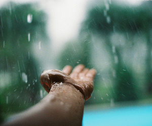 hand, indie, and rain image
