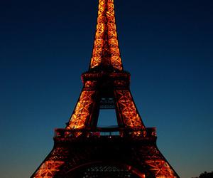 light, paris, and eiffel tower image