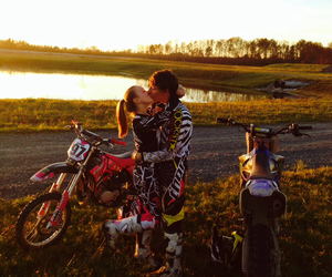 cute couple, motocross love, and love image