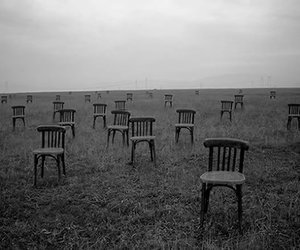 black and white, chair, and alone image