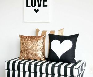 gold, pillow, and black image
