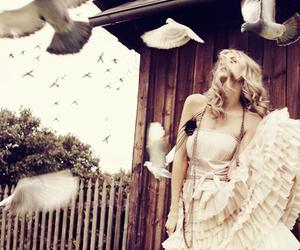 girl, bird, and dress image