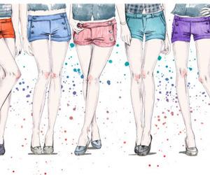 girl, shorts, and drawing image