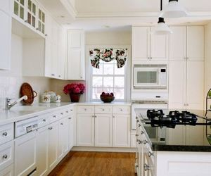 pink laundry room, green white theme, and modern cabinet color image