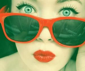 red, girl, and eyes image