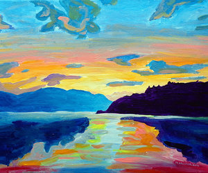 paintings, sunrise, and sunsets image